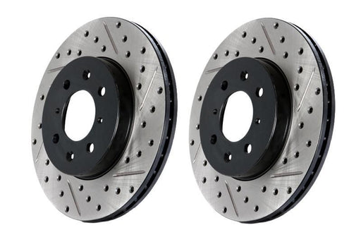 Stoptech Direct Replacement Rotors w/ Standard Calipers, Drilled/Slotted, Rear Pair - Nissan 350Z 06-09, 370Z / Infiniti G35 05+, G37, Q40 Sedan / G37 09 Coupe AWD