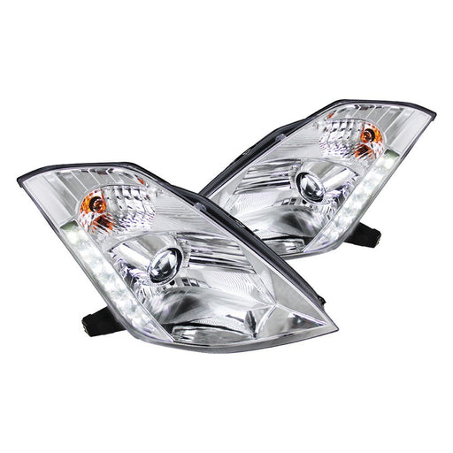 Spec-D Projector Headlights with LED DRL (Chrome) - Nissan 350Z (03-05) - Outcast Garage