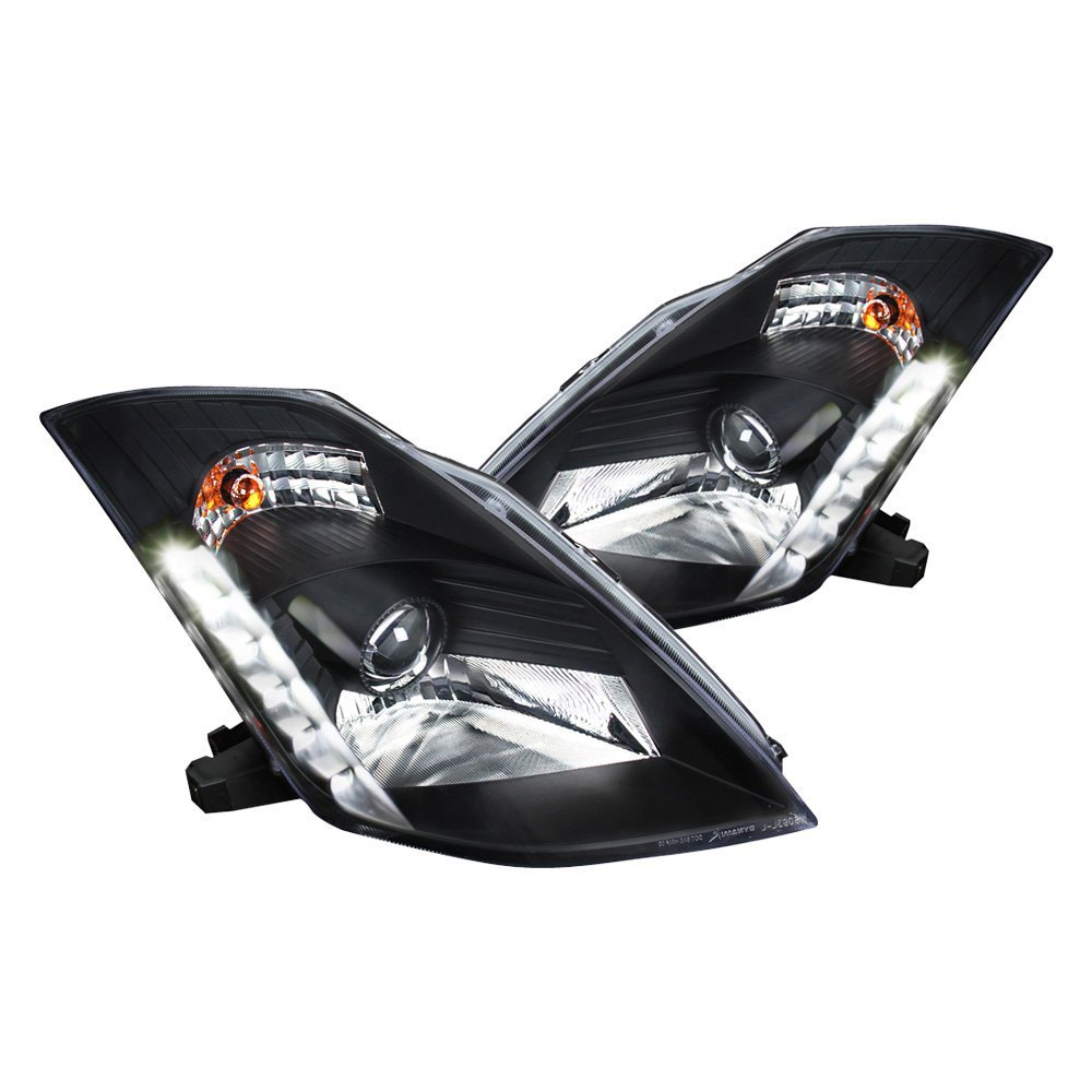 Spec-D Projector Headlights with LED DRL (Black) - Nissan 350Z (03-05) - Outcast Garage
