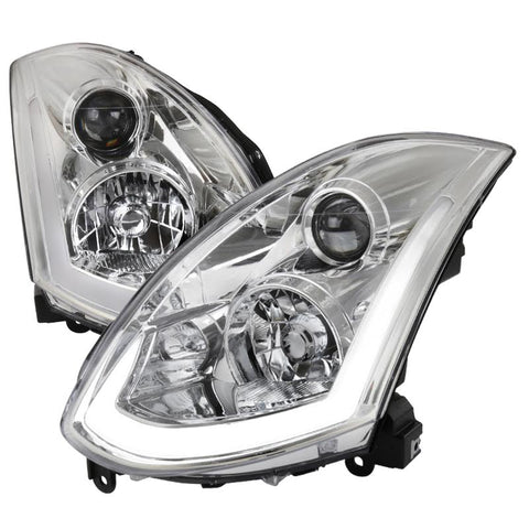 LED DRL Tube Projector Headlights (Chrome) - Infiniti G35 Coupe