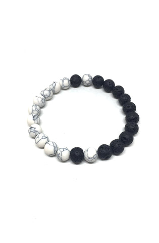Howlite and Lava Rock Balance Bracelet