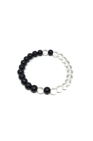 Onyx and Clear Quartz Balance Bracelet