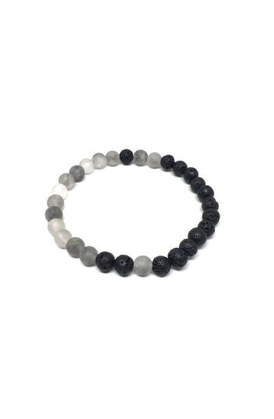 Lava Rock and Cloud Quartz Balance Bracelet