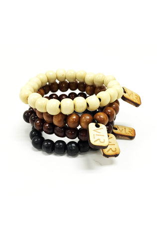 Natural wood beaded 4 pack