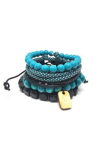 5 Stack in Teal and Black