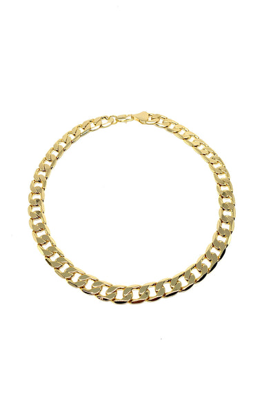 Thick Flat Curb Chain Choker in Gold