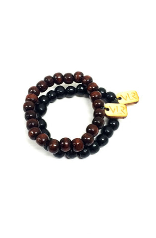 Black and brown wood beaded