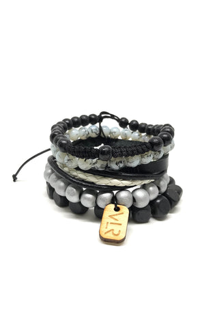5 Stack Bracelet Set in Gray Scale