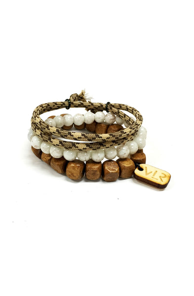 Square beads 3 pack in khaki and white