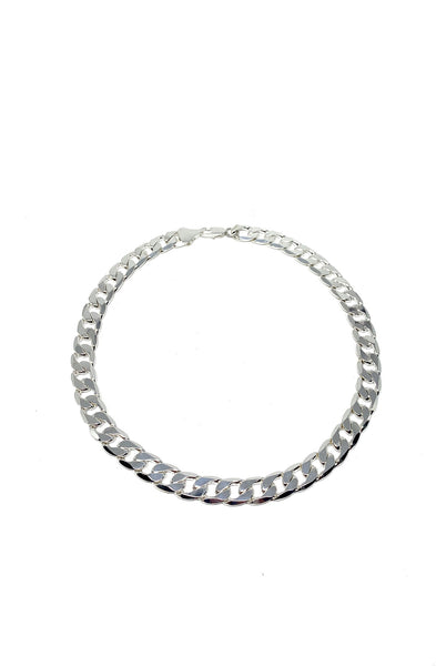 Thick Flat Curb Chain Choker in Silver