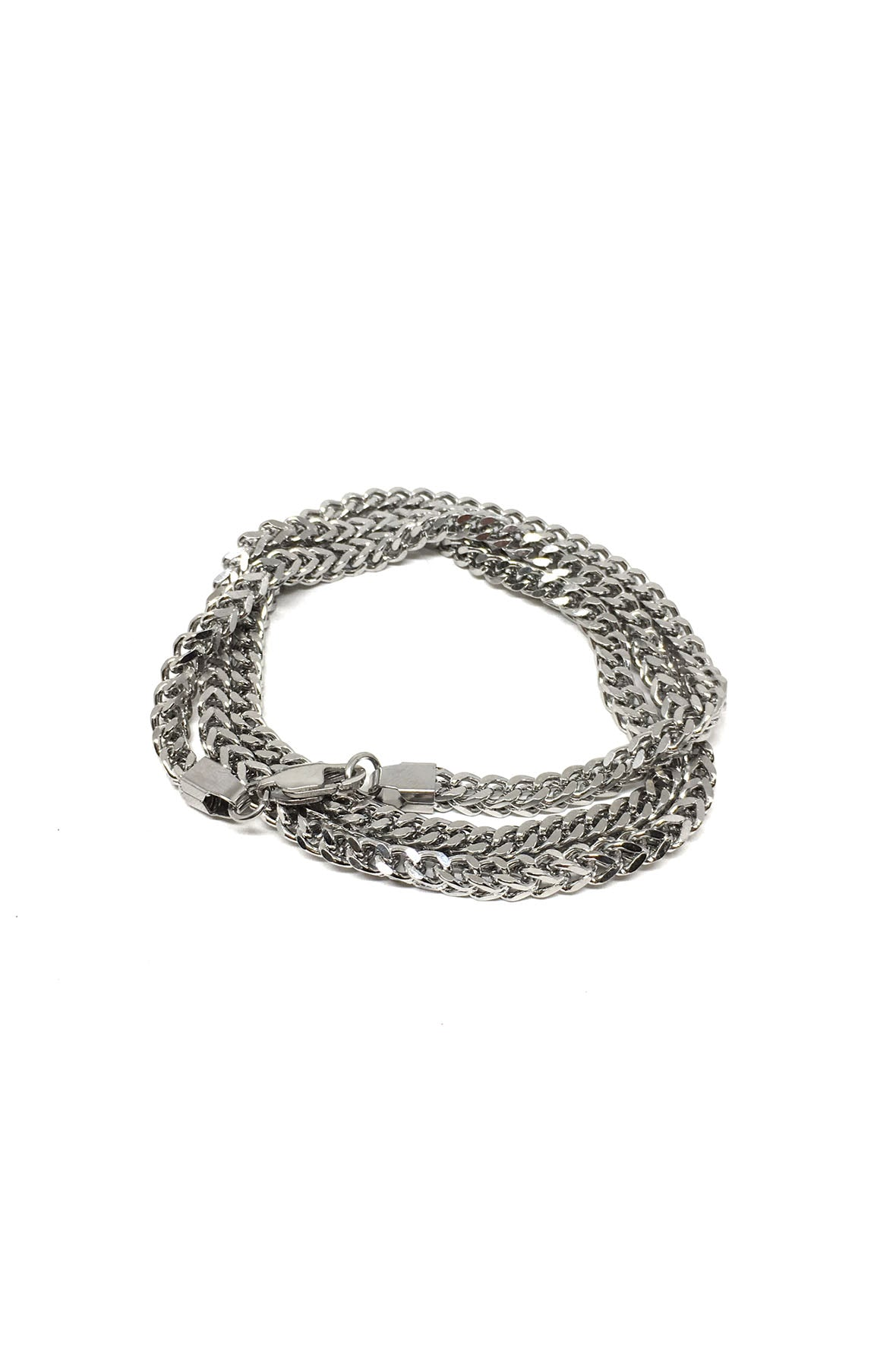 Triple Wrap Silver Franco Chain Bracelet