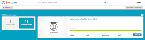 Dashboard and Log of Radiology CEU Credits