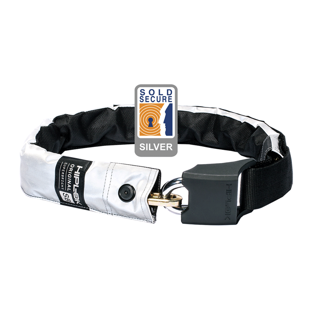 HIPLOK ORIGINAL V1.5 WEARABLE CHAIN LOCK 8MM X 90CM - WAIST 24-44 INCHES (SILVER SOLD SECURE) HIGH VISIBILITY