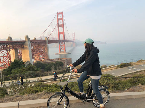 Danielle on a Vika+ at the Golden Gate Bridge