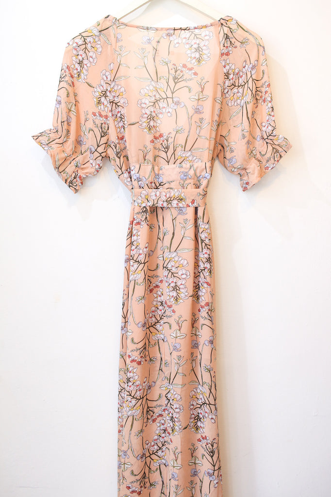 Peach Floral Maxi With Sleeves