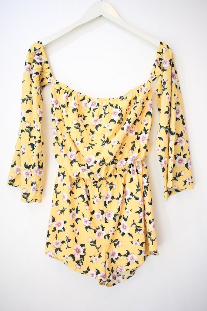 Yellow Floral Off The Shoulder Romper