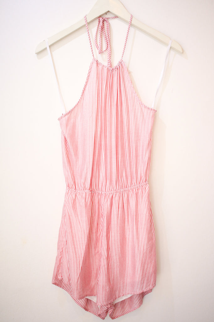 Red Striped Halter Romper