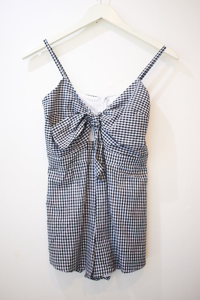 Black Gingham Romper