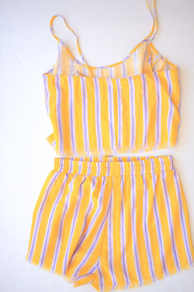 Purple and Yellow Striped Set