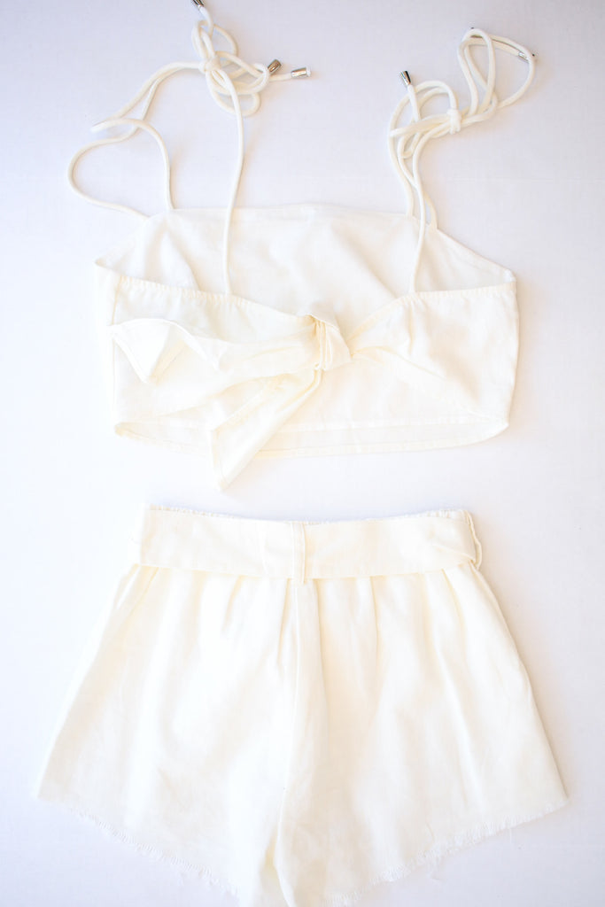 White Tie Up Two Piece