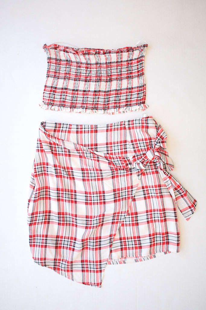 Red Checkered Two Piece Set