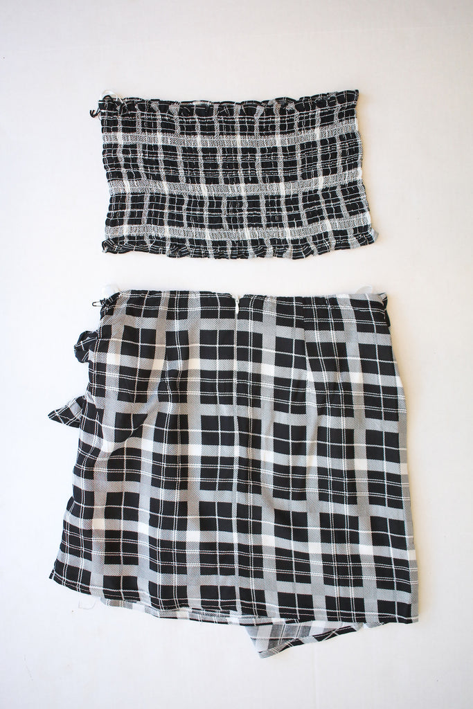 Black Checkered Two Piece Set