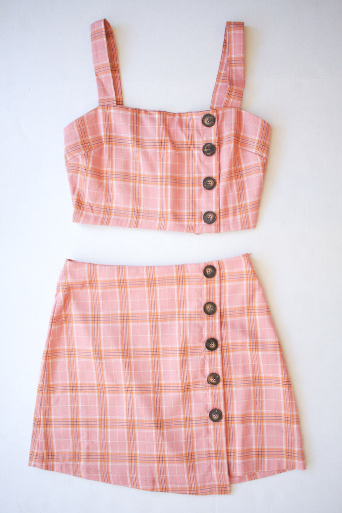 Pink Plaid Two Piece Set
