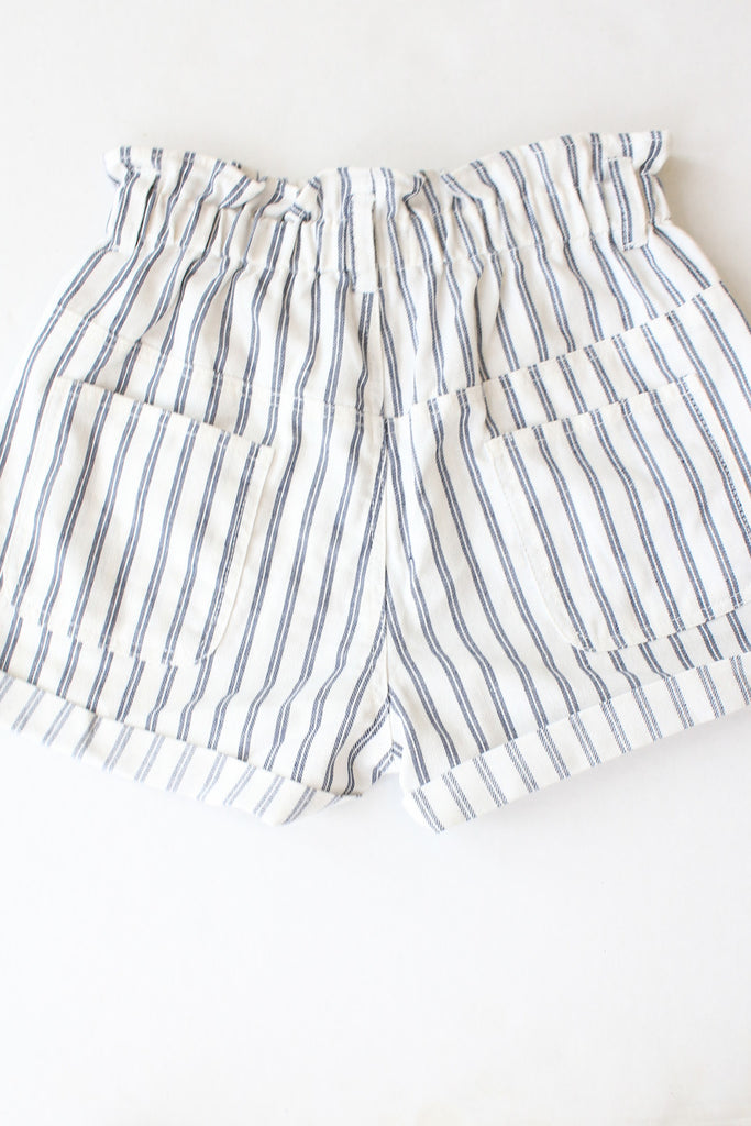 Holly Blue Striped Elastic Shorts
