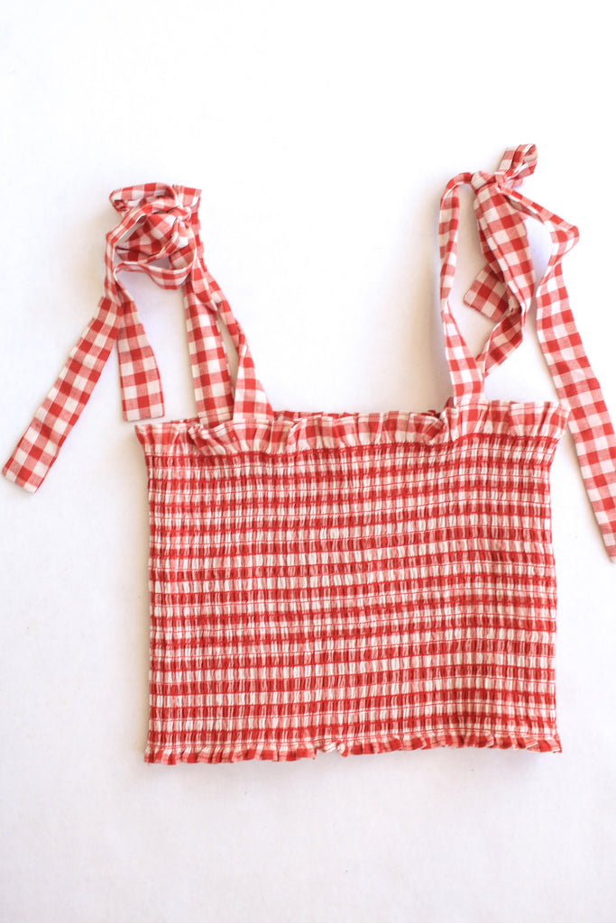 Red Gingham Tie Crop Top