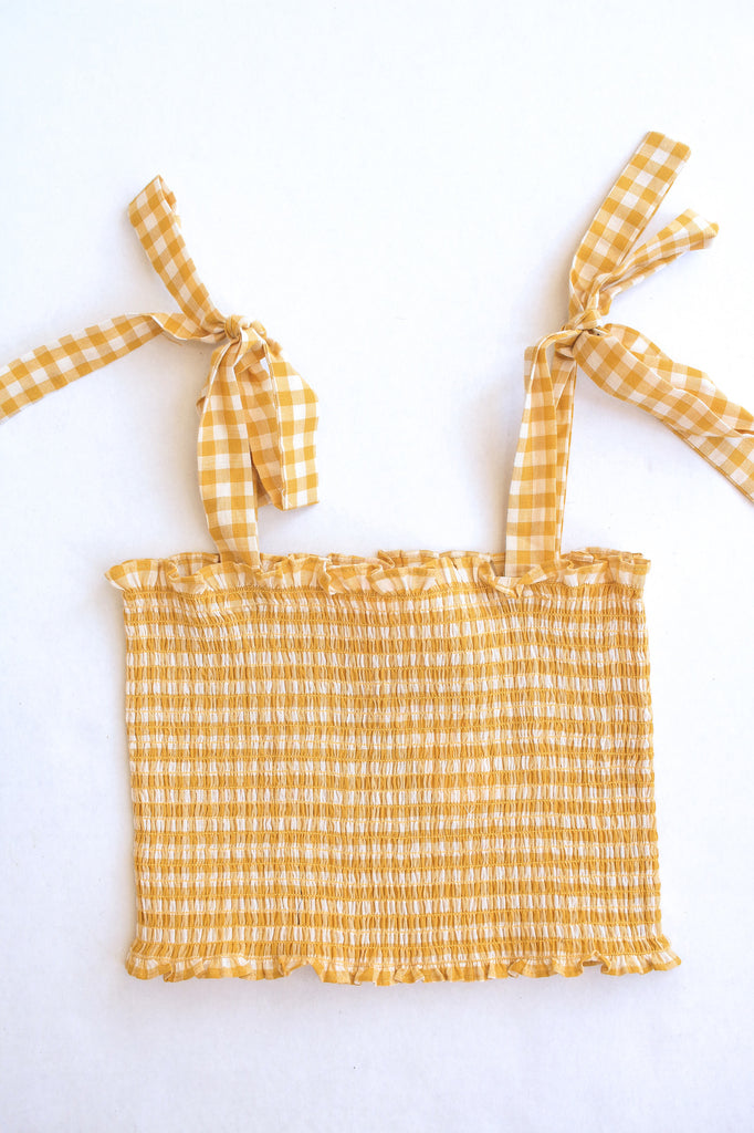 Yellow Gingham Tie Crop Top