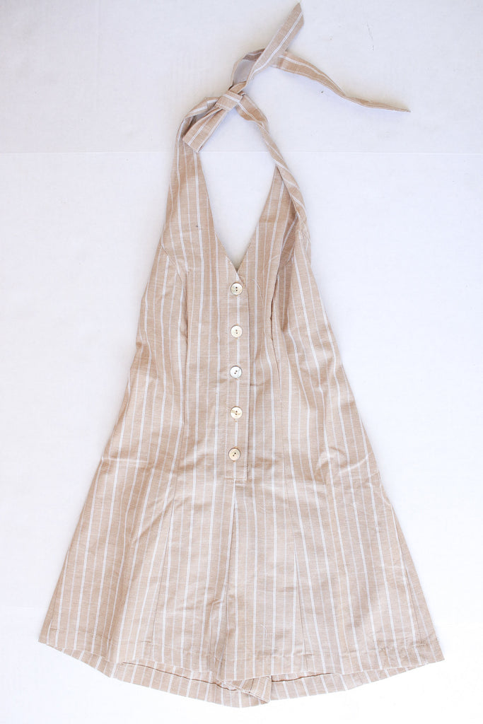 Taupe striped Halter Button Down romper