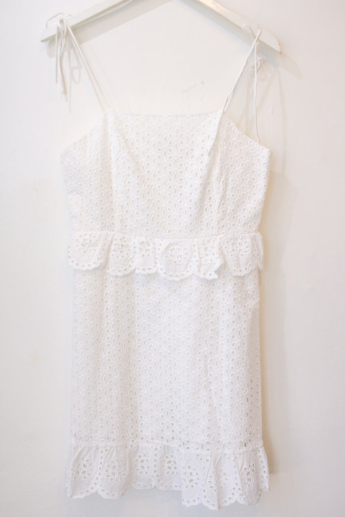 White Embroidered Tie Up Dress