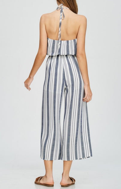 Navy Blue Halter Striped Jumpsuit