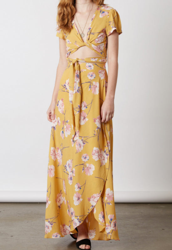 Yellow Floral Maxi Two Piece