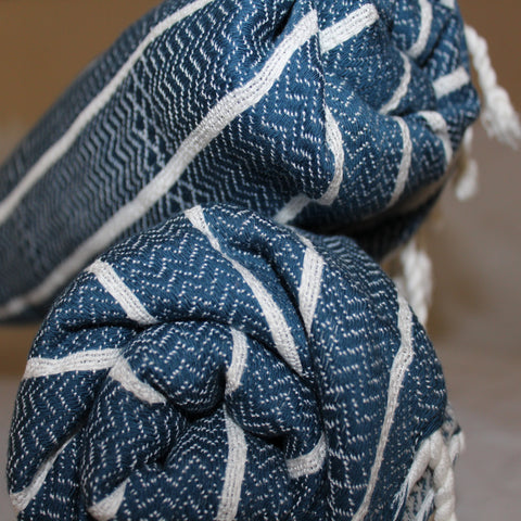 Ahoy There Turkish Towel in Navy Navy - we love ours in the Bathroom - gives a real Nautical vibe!