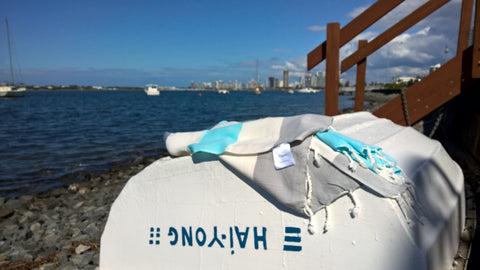 Atlantis Turkish towel sitting casually in a perfectly suitable environment - on a boat!