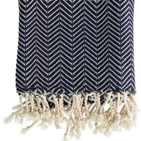 Navy on Natural Turkish throw in a timeless chevron pattern - creates style at the beach, in the bathroom, around the home or whilst travelling