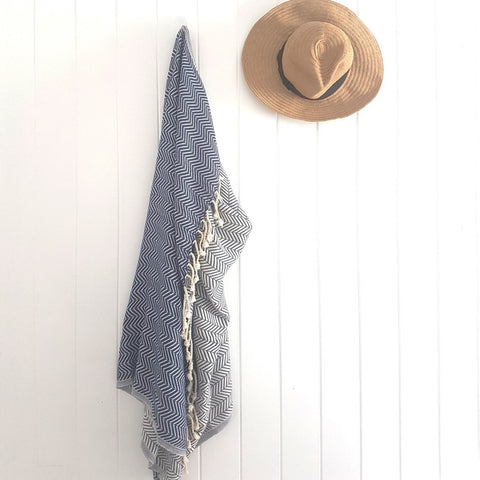 ADVENTURE Navy hand-loomed Turkish towel and throw
