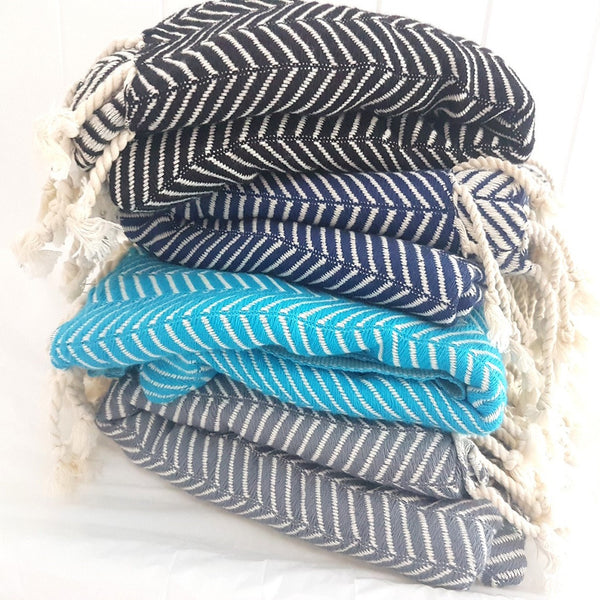 The Adventure Turkish towel or throw comes in 4 stunning colours (jet black, navy, turquoise and silver grey)