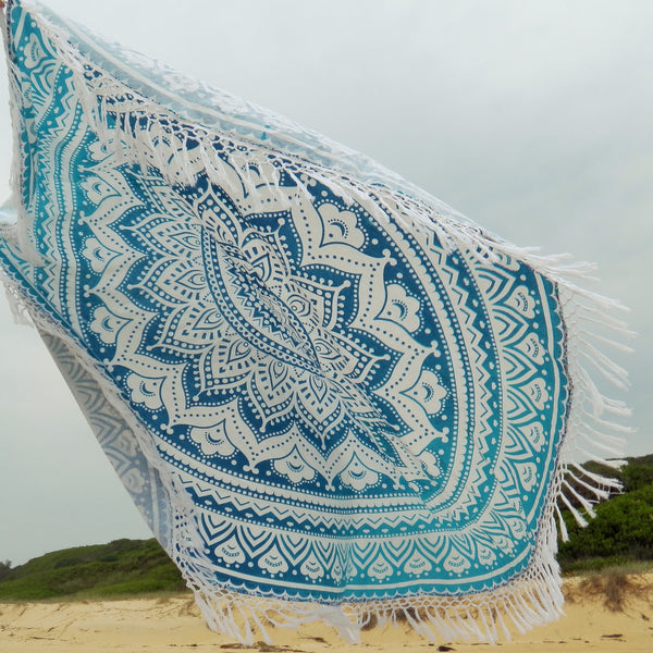 BLUE DAZE Mandala Roundie with handknitted macrame tassels is spectacular in any location - the subtle ombre use of blues throughout is magical and the mandala design is captivating