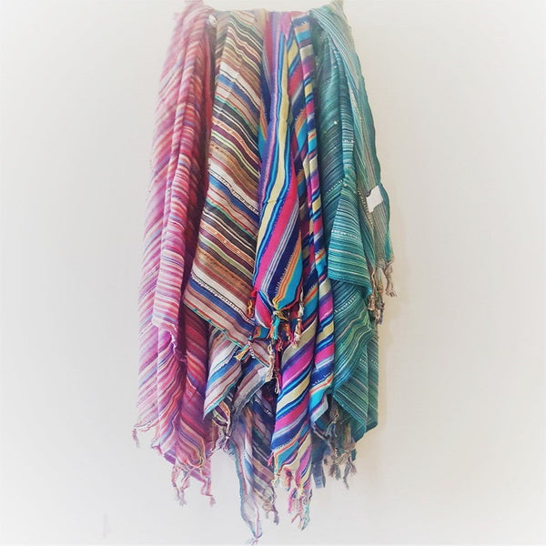 BOHEMIA - all shades hanging - boho luxe Turkish towel or scarf - this piece is a stunning just in case one every man or woman should have