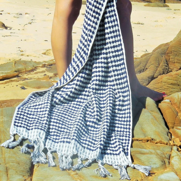 BURLEIGH Turkish towel makes a statement - at the beach, in the bathroom or poolside - this gorgeous towel is sure to impress even the most picky of people