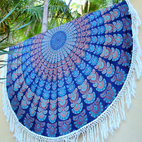 EXOTICA Mandala Roundie with hand knitted macrame tassels