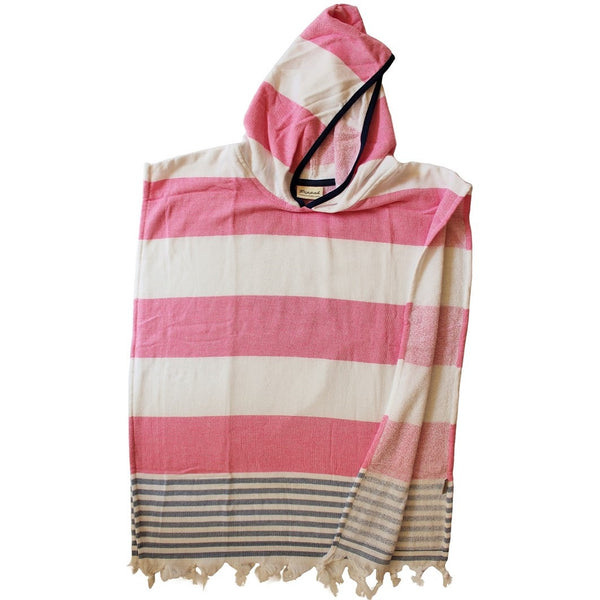 Hot Pink wide stripe with a denim slim stripe trim - perfect beach style for mini beach babes