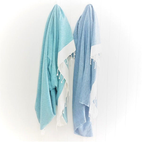 BIARRITZ Beach Blanket - Turquoise Shimmers and Dark Denim (Navy) - ultra large handloomed Turkish towel - Beach blanket