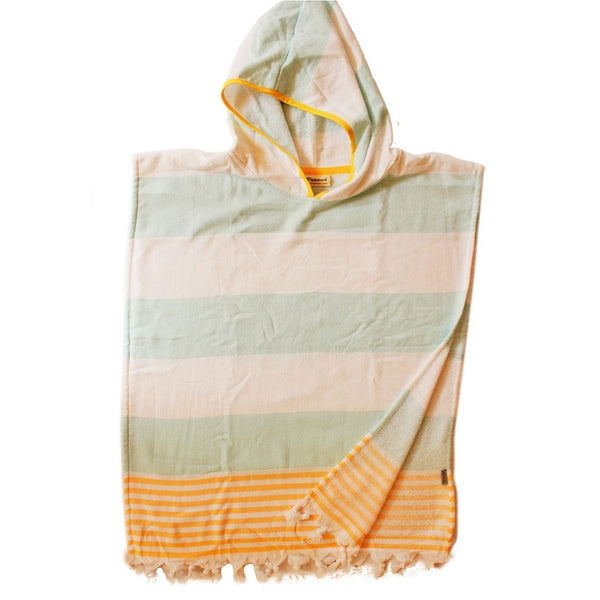 Aqua Ice wide stripe with Lemon Yellow trim hooded Childs Poncho - beach, pool or bath style