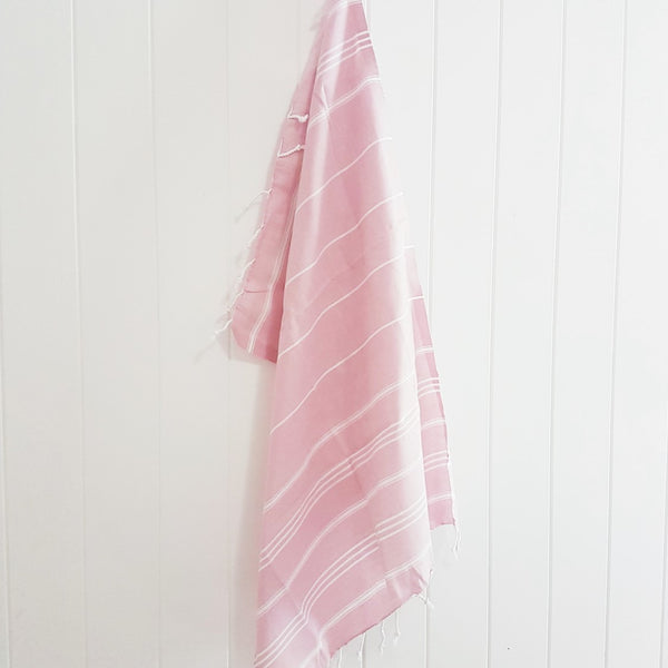 Pale Pink Kids Turkish towel - The mini classic stripes