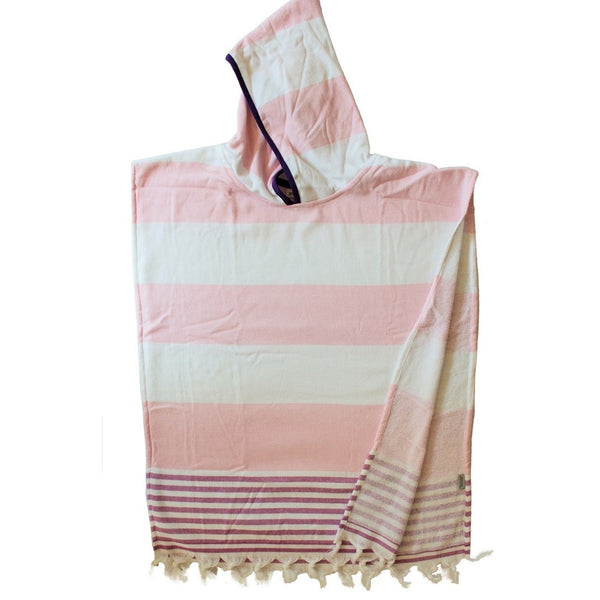Pale pink wide stripe with Raspberry trim - hooded Turkish poncho for kids