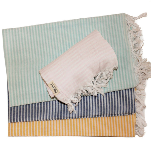 SAILOR ultra light weight Turkish towel in 4 shades - classic slim stripes throughout on a sharp white base