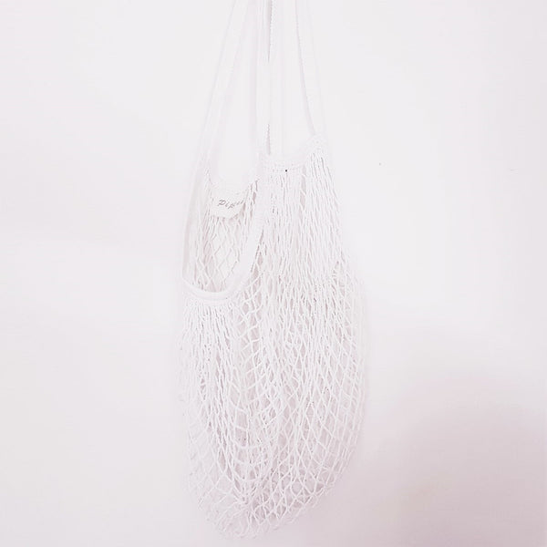 Cotton Net String bag - designed for stretch to fit in lots but be compact when not in use